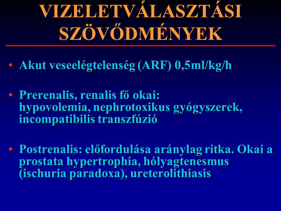 VIZELETVÁLASZTÁSI SZÖVŐDMÉNYEK Akut veseelégtelenség (ARF) 0,5ml/kg/h Prerenalis, renalis fő okai: hypovolemia, nephrotoxikus gyógyszerek, incompatibi
