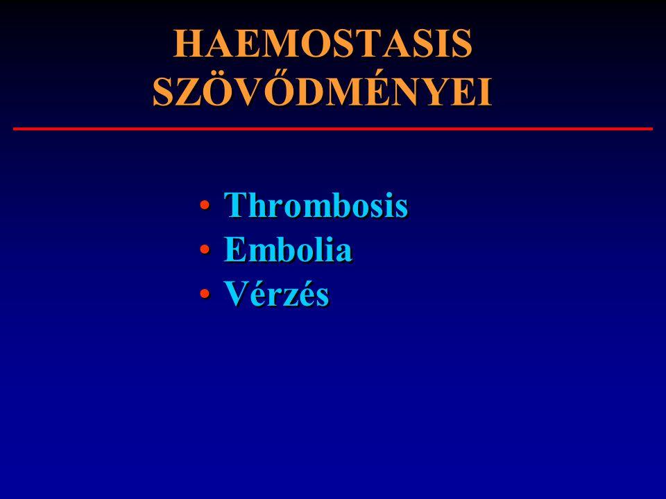 HAEMOSTASIS SZÖVŐDMÉNYEI Thrombosis Embolia Vérzés Thrombosis Embolia Vérzés