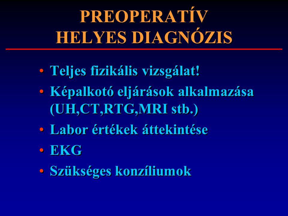 PREOPERATÍV HELYES DIAGNÓZIS Teljes fizikális vizsgálat! Képalkotó eljárások alkalmazása (UH,CT,RTG,MRI stb.) Labor értékek áttekintése EKG Szükséges