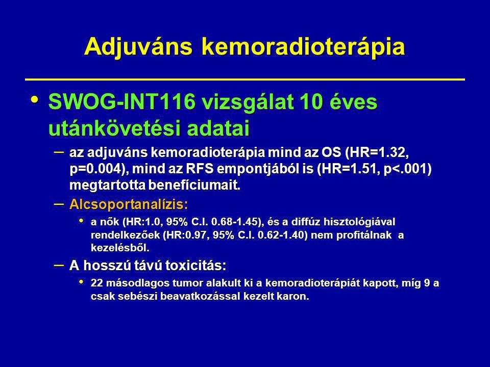 Adjuváns kemoradioterápia SWOG-INT116 vizsgálat 10 éves utánkövetési adatai SWOG-INT116 vizsgálat 10 éves utánkövetési adatai – az adjuváns kemoradioterápia mind az OS (HR=1.32, p=0.004), mind az RFS empontjából is (HR=1.51, p<.001) megtartotta benefíciumait.