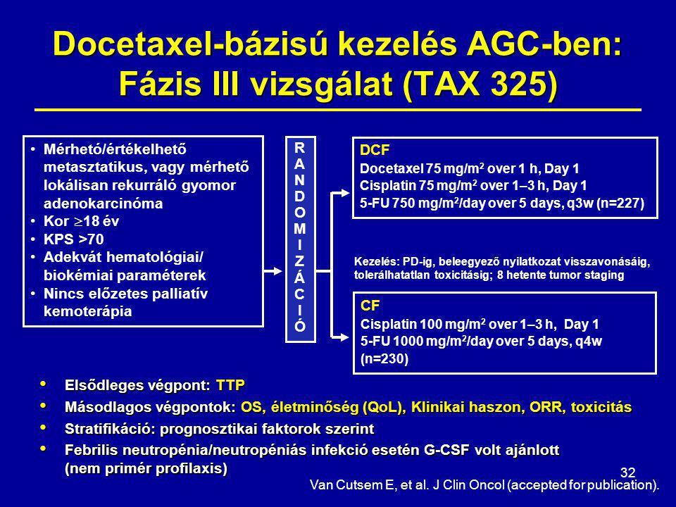 32 DCF Docetaxel 75 mg/m 2 over 1 h, Day 1 Cisplatin 75 mg/m 2 over 1–3 h, Day 1 5-FU 750 mg/m 2 /day over 5 days, q3w (n=227) CF Cisplatin 100 mg/m 2 over 1–3 h, Day 1 5-FU 1000 mg/m 2 /day over 5 days, q4w (n=230) Mérhetó/értékelhető metasztatikus, vagy mérhető lokálisan rekurráló gyomor adenokarcinóma Kor  18 év KPS >70 Adekvát hematológiai/ biokémiai paraméterek Nincs előzetes palliatív kemoterápia RANDOMIZÁCIÓRANDOMIZÁCIÓ Kezelés: PD-ig, beleegyező nyilatkozat visszavonásáig, tolerálhatatlan toxicitásig; 8 hetente tumor staging Docetaxel-bázisú kezelés AGC-ben: Fázis III vizsgálat (TAX 325) Elsődleges végpont: TTP Elsődleges végpont: TTP Másodlagos végpontok: OS, életminőség (QoL), Klinikai haszon, ORR, toxicitás Másodlagos végpontok: OS, életminőség (QoL), Klinikai haszon, ORR, toxicitás Stratifikáció: prognosztikai faktorok szerint Stratifikáció: prognosztikai faktorok szerint Febrilis neutropénia/neutropéniás infekció esetén G-CSF volt ajánlott (nem primér profilaxis) Febrilis neutropénia/neutropéniás infekció esetén G-CSF volt ajánlott (nem primér profilaxis) Van Cutsem E, et al.