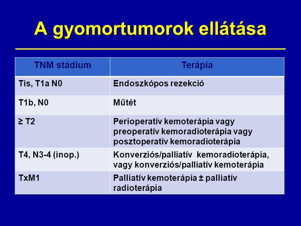 A gyomortumorok ellátása TNM stádiumTerápia Tis, T1a N0Endoszkópos rezekció T1b, N0Műtét ≥ T2Perioperatív kemoterápia vagy preoperatív kemoradioterápia vagy posztoperatív kemoradioterápia T4, N3-4 (inop.)Konverziós/palliatív kemoradioterápia, vagy konverziós/palliatív kemoterápia TxM1Palliatív kemoterápia ± palliatív radioterápia
