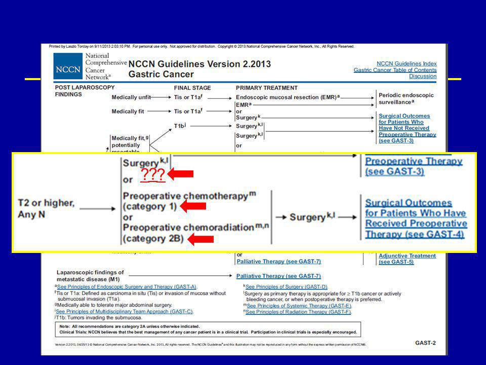 Adjuváns kemoradioterápia SEER (Surveillance, Epidemiology, and End Results-Medicare) adatbázis adatai SEER (Surveillance, Epidemiology, and End Results-Medicare) adatbázis adatai – 1993, gasztrektómián átesett, 65 évnél idősebb stage IB-IV gyomortumoros beteg – a 313 kemoradioterápiát kapott beteg mortalitási rátája a csak operált csoporttal összevetve szignifikánsan alacsonyabb volt (HR: 0.83; 95% C.I., 0.71-0.98) – alcsoportanalízis : szignifikáns benefícium: stage III ill.