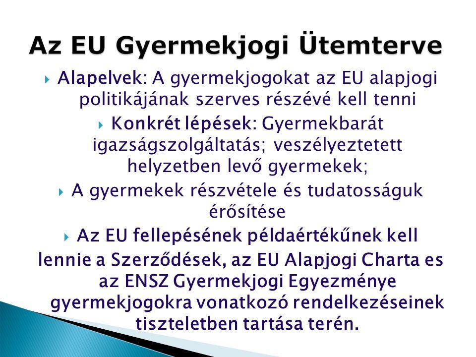  Alapelvek: A gyermekjogokat az EU alapjogi politikájának szerves részévé kell tenni  Konkrét lépések: Gyermekbarát igazságszolgáltatás; veszélyezte