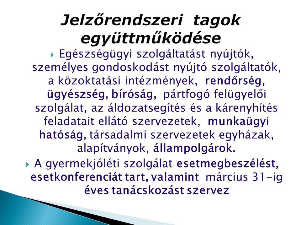  Egészségügyi szolgáltatást nyújtók, személyes gondoskodást nyújtó szolgáltatók, a közoktatási intézmények, rendőrség, ügyészség, bíróság, pártfogó f