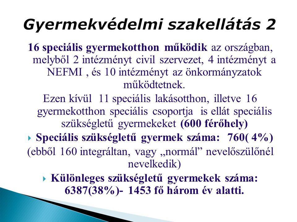 16 speciális gyermekotthon működik az országban, melyből 2 intézményt civil szervezet, 4 intézményt a NEFMI, és 10 intézményt az önkormányzatok működt
