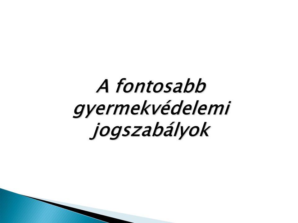  1991.évi LXIV. törvény és a Gyermekjogi Egyezmény kiegészítő jegyzőkönyvei:  2009.évi CLX.