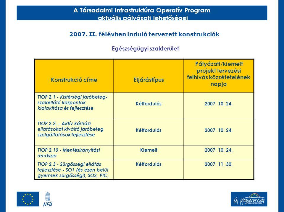 A Társadalmi Infrastruktúra Operatív Program aktuális pályázati lehetőségei 2007. II. félévben induló tervezett konstrukciók Konstrukció címeEljárástí