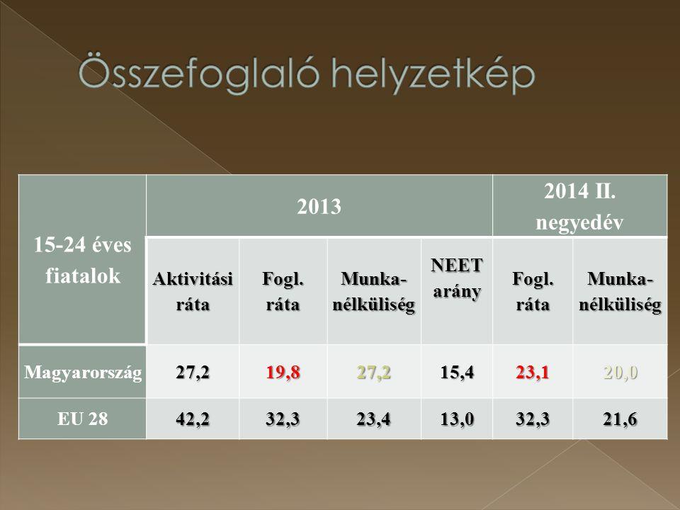 15-24 éves fiatalok 2013 2014 II. negyedév Aktivitási ráta Fogl. ráta Munka- nélküliség NEET arány Fogl. ráta Munka- nélküliség Magyarország27,219,827