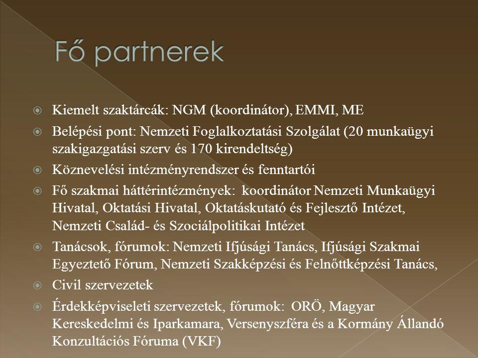  Kiemelt szaktárcák: NGM (koordinátor), EMMI, ME  Belépési pont: Nemzeti Foglalkoztatási Szolgálat (20 munkaügyi szakigazgatási szerv és 170 kirende