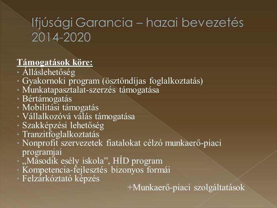Támogatások köre: Álláslehetőség Gyakornoki program (ösztöndíjas foglalkoztatás) Munkatapasztalat-szerzés támogatása Bértámogatás Mobilitási támogatás