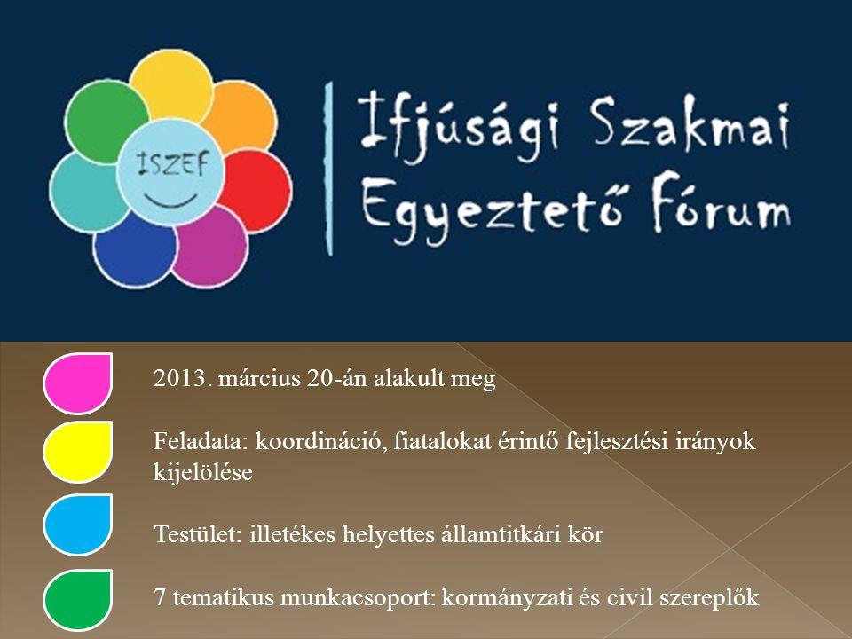 2013. március 20-án alakult meg Feladata: koordináció, fiatalokat érintő fejlesztési irányok kijelölése Testület: illetékes helyettes államtitkári kör