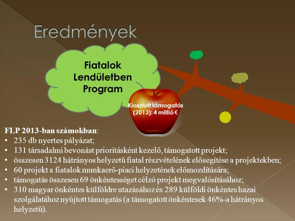 Magyar Ifjúsági Konferencia működtetése Nemzeti Ifjúsági Tanács létrehozása és működtetése Integrált Közösségi és Szolgáltató Terekhez kapcsolódó ifjúságfejlesztés 27,4 Mrd Ft (EMVA) 411 működő IKSZT Alakuló ülés: 2012.