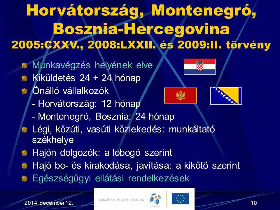 2014. december 12.10 Horvátország, Montenegró, Bosznia-Hercegovina 2005:CXXV., 2008:LXXII. és 2009:II. törvény Munkavégzés helyének elve Kiküldetés 24