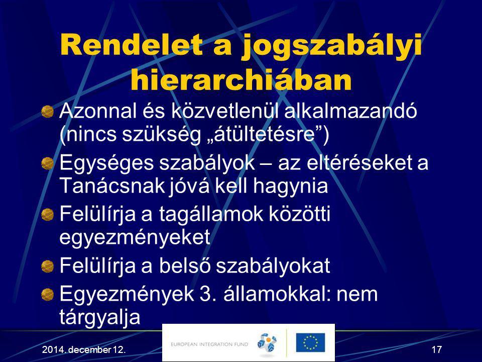 """2014. december 12.17 Rendelet a jogszabályi hierarchiában Azonnal és közvetlenül alkalmazandó (nincs szükség """"átültetésre"""") Egységes szabályok – az el"""