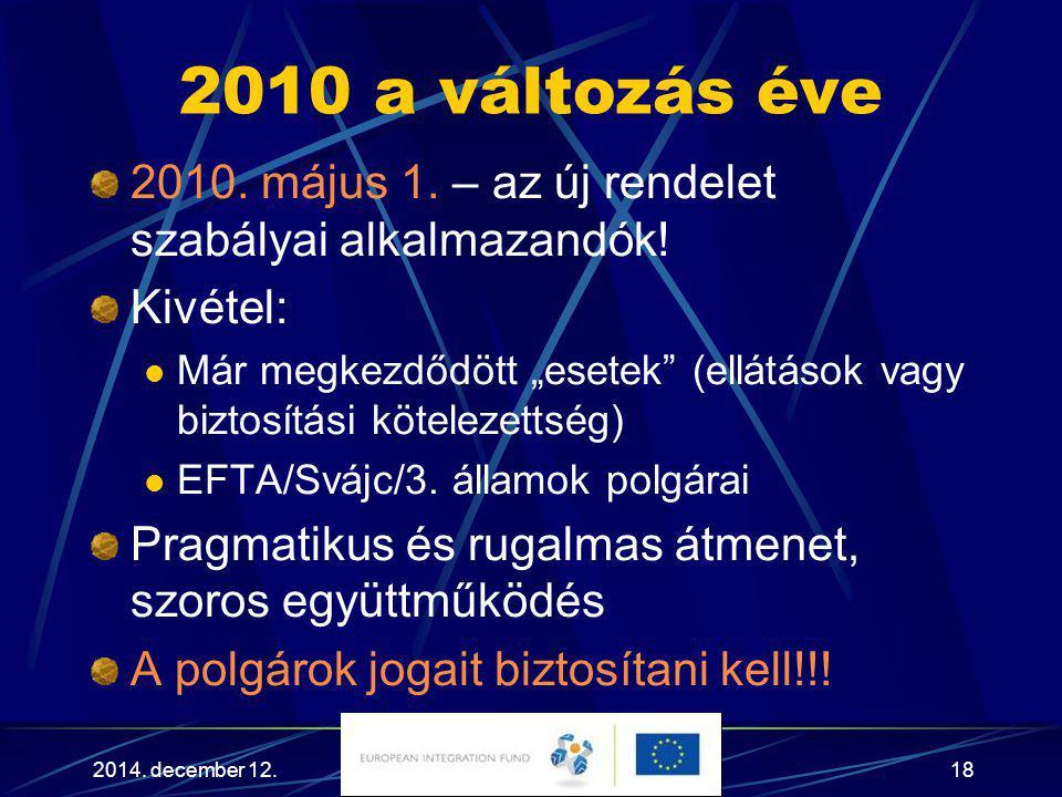 """2014. december 12.18 2010 a változás éve 2010. május 1. – az új rendelet szabályai alkalmazandók! Kivétel: Már megkezdődött """"esetek"""" (ellátások vagy b"""