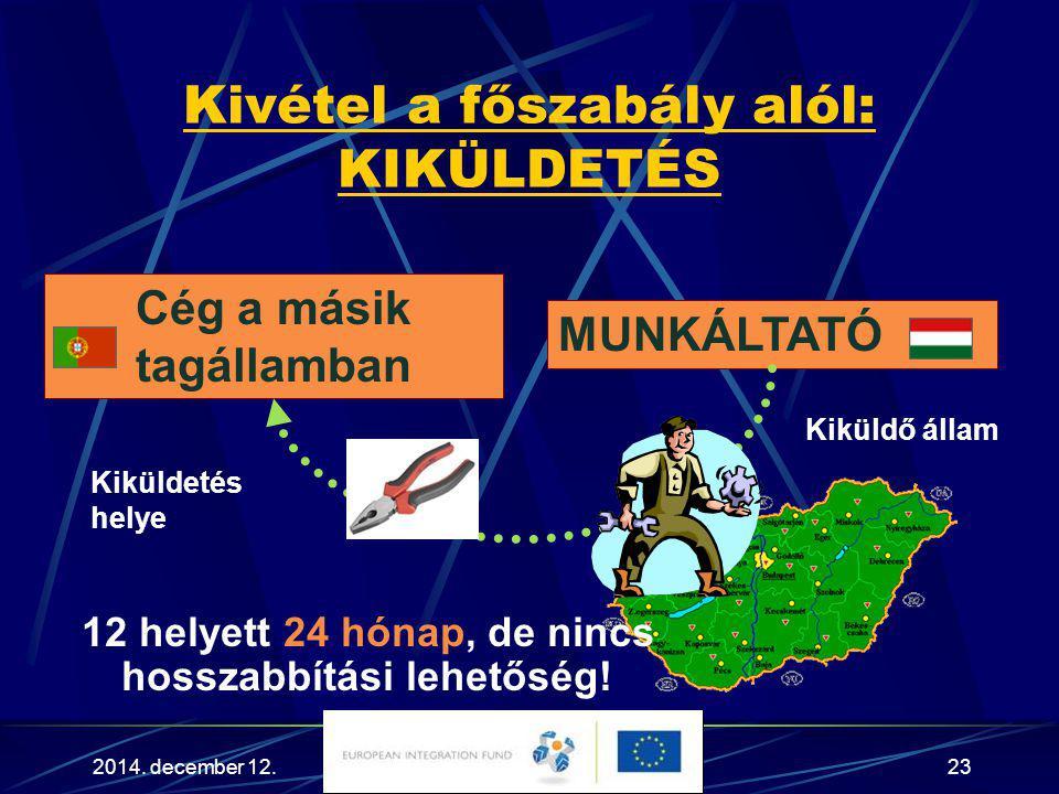 2014. december 12.23 Kivétel a főszabály alól: KIKÜLDETÉS 12 helyett 24 hónap, de nincs hosszabbítási lehetőség! MUNKÁLTATÓ Cég a másik tagállamban Ki