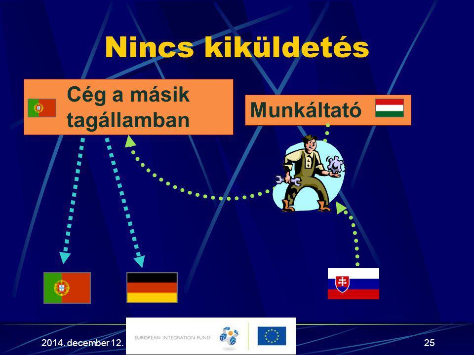 2014. december 12.25 Nincs kiküldetés Munkáltató Cég a másik tagállamban