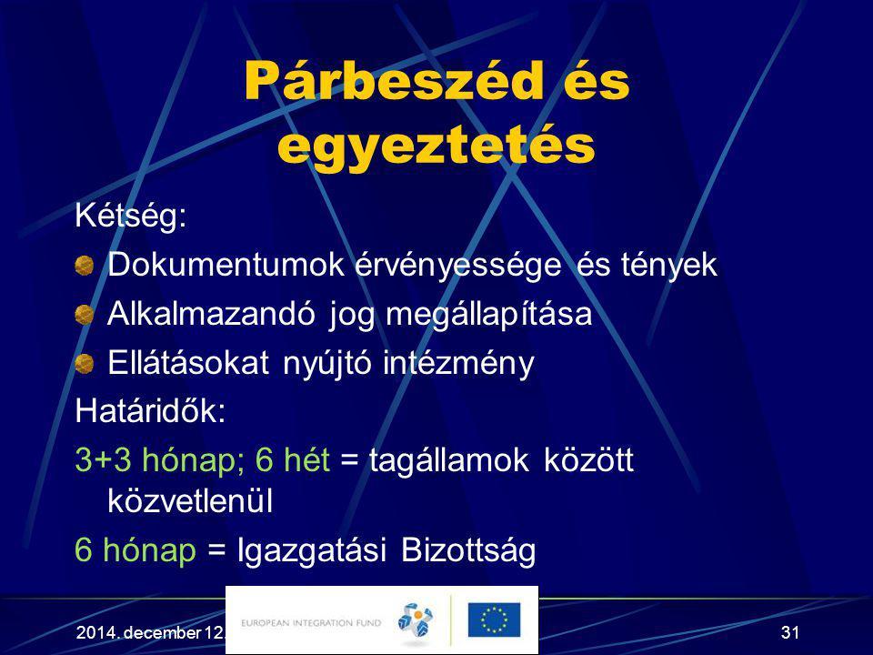 2014. december 12.31 Párbeszéd és egyeztetés Kétség: Dokumentumok érvényessége és tények Alkalmazandó jog megállapítása Ellátásokat nyújtó intézmény H