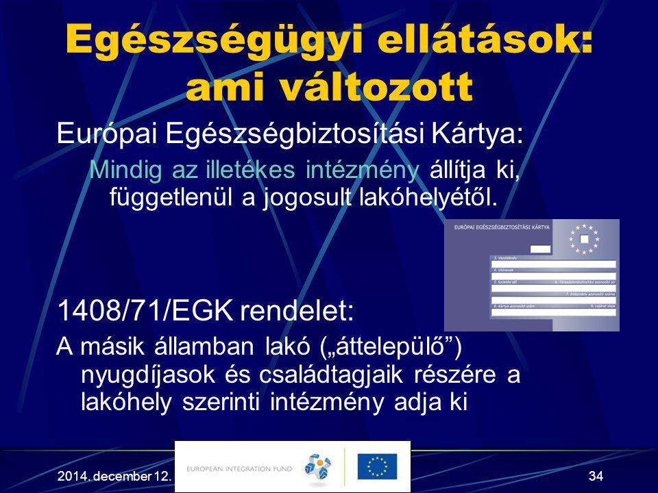 2014. december 12.34 Európai Egészségbiztosítási Kártya: Mindig az illetékes intézmény állítja ki, függetlenül a jogosult lakóhelyétől. 1408/71/EGK re