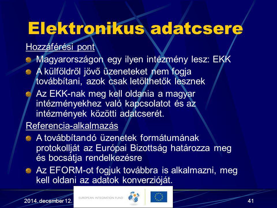 2014. december 12.41 Elektronikus adatcsere Hozzáférési pont Magyarországon egy ilyen intézmény lesz: EKK A külföldről jövő üzeneteket nem fogja továb