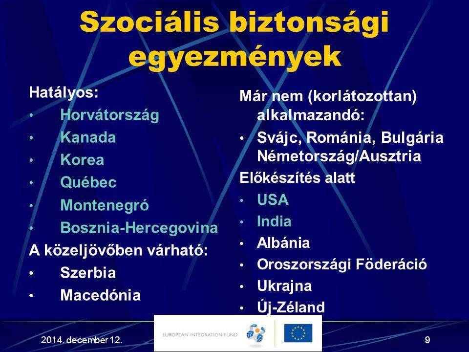 2014. december 12.9 Szociális biztonsági egyezmények Hatályos: Horvátország Kanada Korea Québec Montenegró Bosznia-Hercegovina A közeljövőben várható: