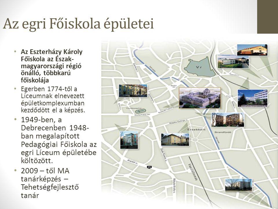 Az egri Főiskola épületei Az Eszterházy Károly Főiskola az Észak- magyarországi régió önálló, többkarú főiskolája Egerben 1774-től a Líceumnak elnevez