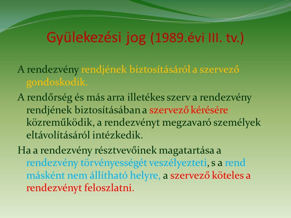 Gyülekezési jog (1989.évi III. tv.) A rendezvény rendjének biztosításáról a szervező gondoskodik.