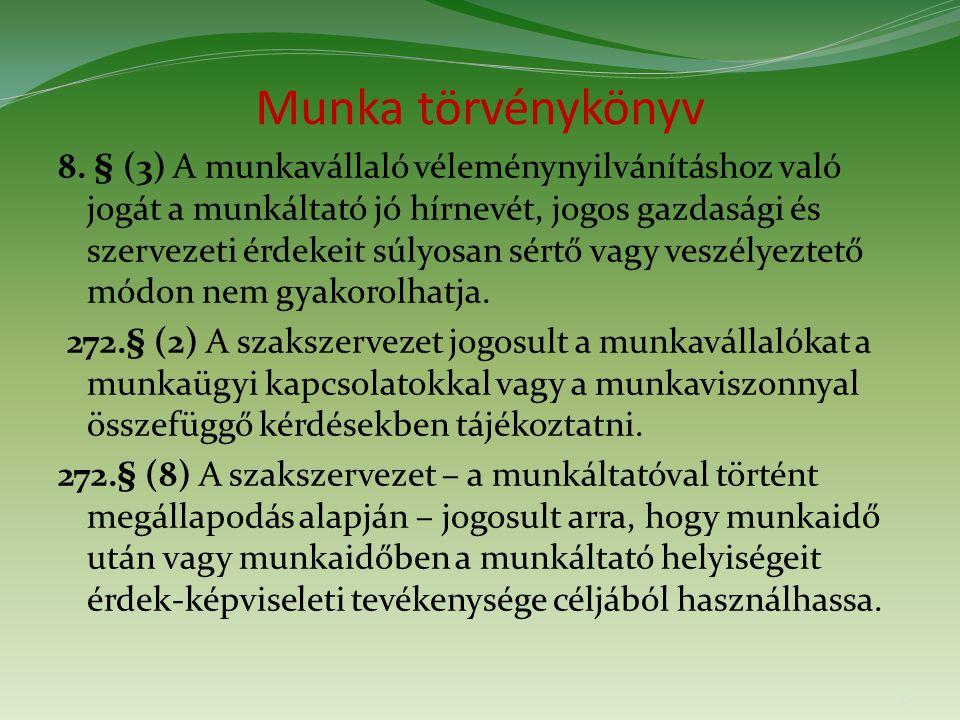 Munka törvénykönyv 8.