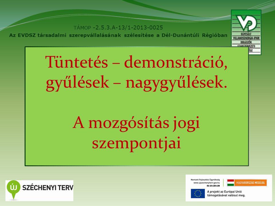 2 TÁMOP -2.5.3.A-13/1-2013-0025 Az EVDSZ társadalmi szerepvállalásának szélesítése a Dél-Dunántúli Régióban Tüntetés – demonstráció, gyűlések – nagygyűlések.