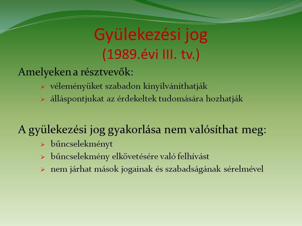 Gyülekezési jog (1989.évi III.tv.) A tv. hatálya nem terjed ki:  választási tv.