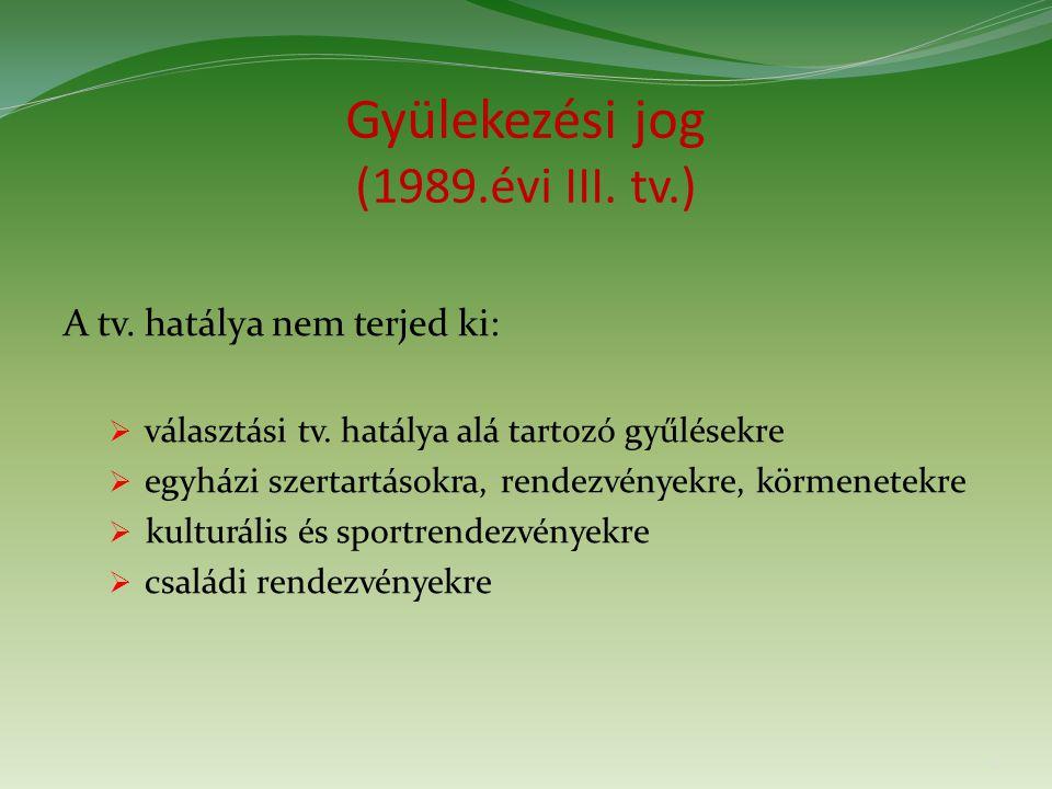 Gyülekezési jog (1989.évi III. tv.) A tv. hatálya nem terjed ki:  választási tv.
