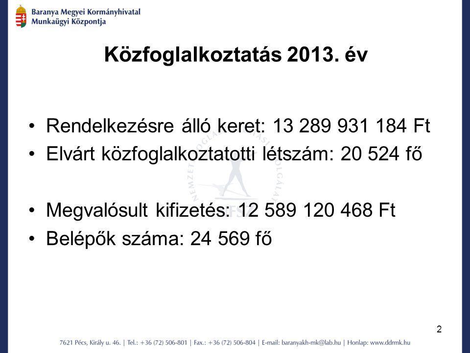 2 Közfoglalkoztatás 2013. év Rendelkezésre álló keret: 13 289 931 184 Ft Elvárt közfoglalkoztatotti létszám: 20 524 fő Megvalósult kifizetés: 12 589 1