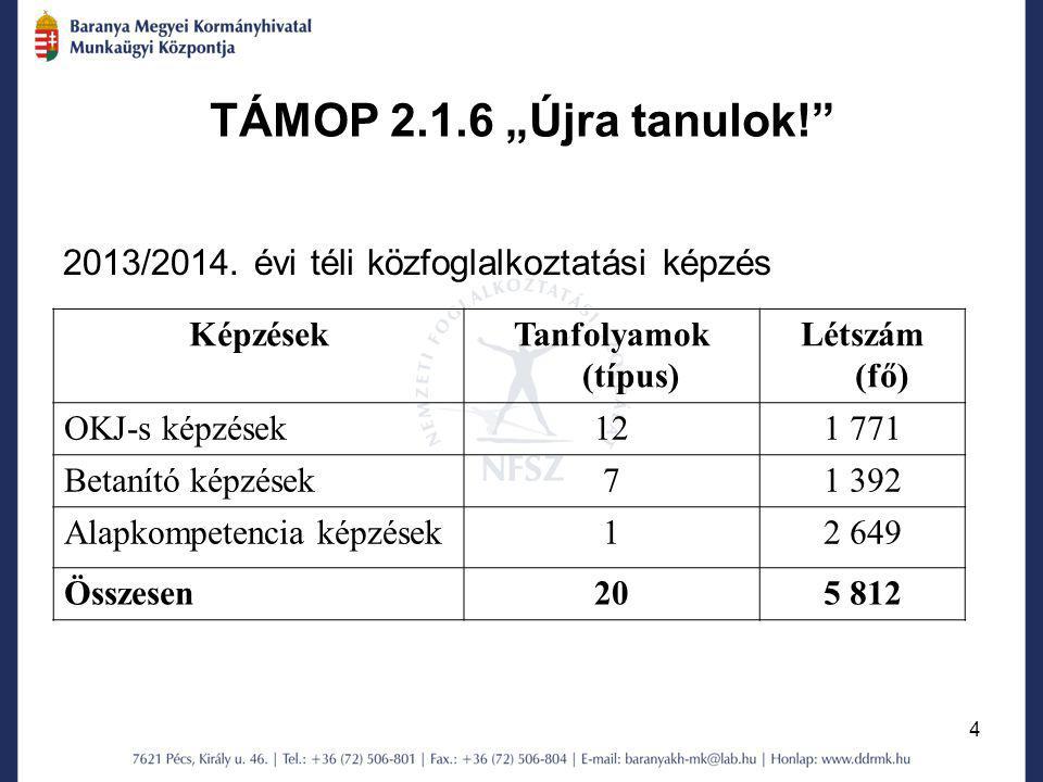 """4 TÁMOP 2.1.6 """"Újra tanulok!"""" 2013/2014. évi téli közfoglalkoztatási képzés KépzésekTanfolyamok (típus) Létszám (fő) OKJ-s képzések121 771 Betanító ké"""