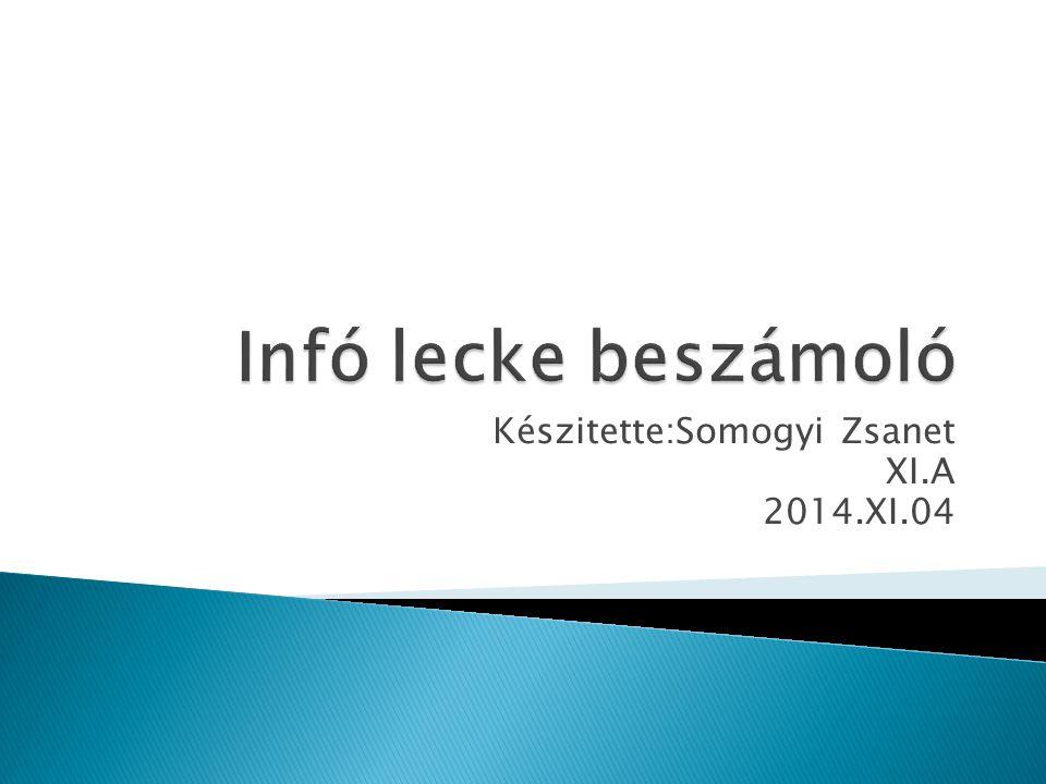 Készitette:Somogyi Zsanet XI.A 2014.XI.04