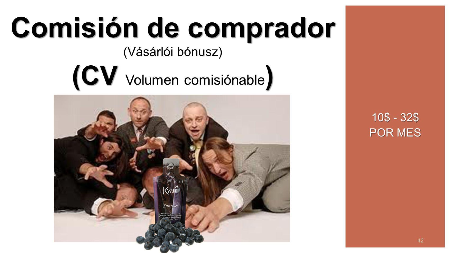 43 42 10$ - 32$ POR MES Comisión de comprador (Vásárlói bónusz) (CV ) (CV Volumen comisiónable )