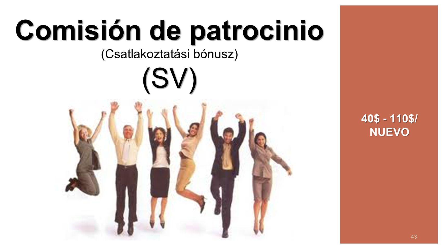 44 43 Comisión de patrocinio Comisión de patrocinio (Csatlakoztatási bónusz)(SV) 40$ - 110$/ NUEVO