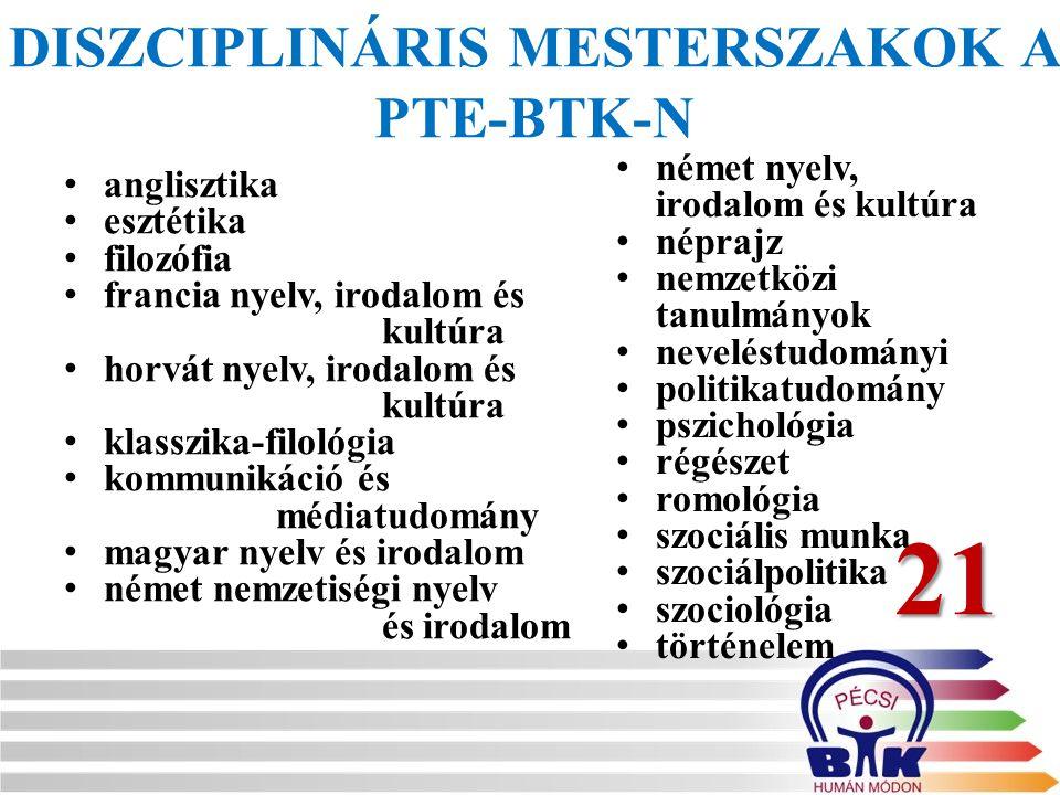 DISZCIPLINÁRIS MESTERSZAKOK A PTE-BTK-N anglisztika esztétika filozófia francia nyelv, irodalom és kultúra horvát nyelv, irodalom és kultúra klasszika