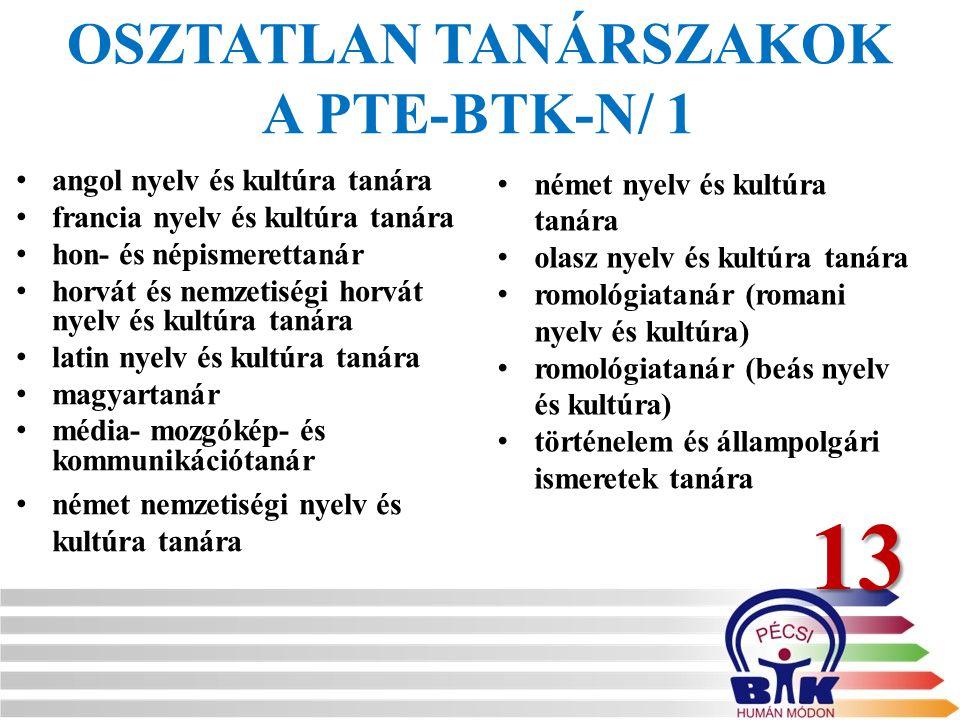 OSZTATLAN TANÁRSZAKOK A PTE-BTK-N/ 1 angol nyelv és kultúra tanára francia nyelv és kultúra tanára hon- és népismerettanár horvát és nemzetiségi horvá