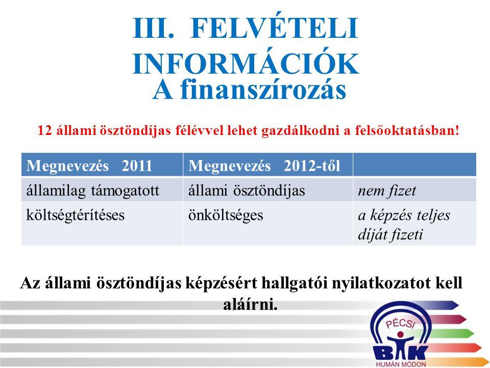 III. FELVÉTELI INFORMÁCIÓK Az állami ösztöndíjas képzésért hallgatói nyilatkozatot kell aláírni. A finanszírozás Megnevezés 2011Megnevezés 2012-től ál