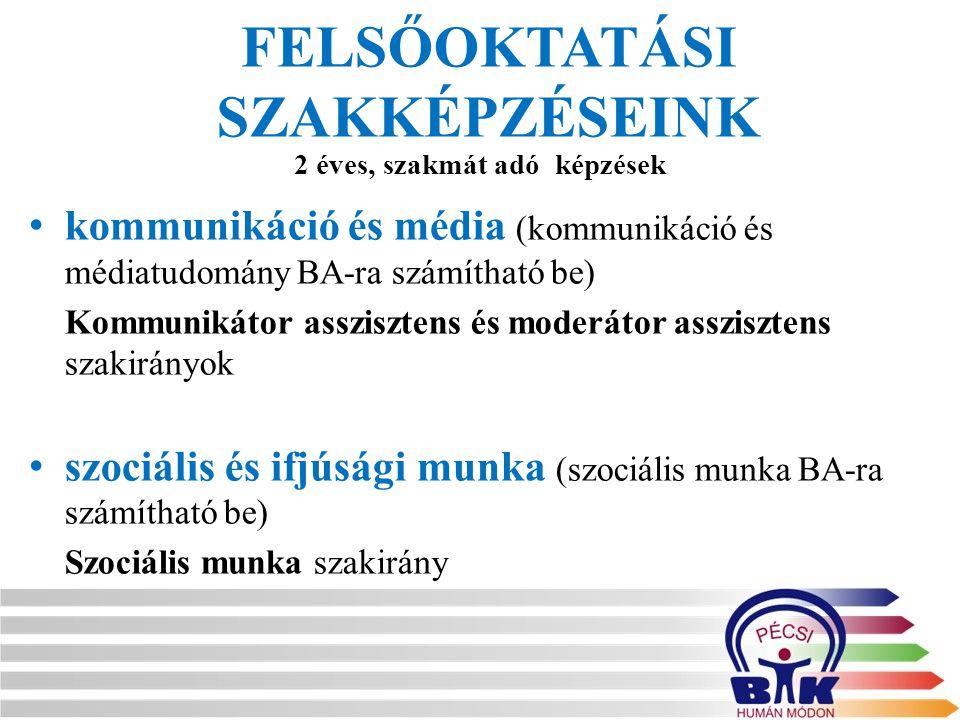 FELSŐOKTATÁSI SZAKKÉPZÉSEINK kommunikáció és média (kommunikáció és médiatudomány BA-ra számítható be) Kommunikátor asszisztens és moderátor assziszte