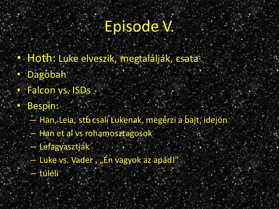 Episode V. Hoth: Luke elveszik, megtalálják, csata Dagobah Falcon vs.