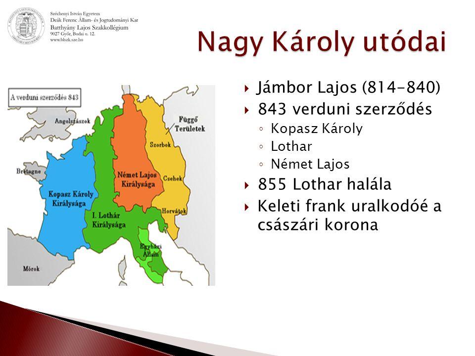  Jámbor Lajos (814-840)  843 verduni szerződés ◦ Kopasz Károly ◦ Lothar ◦ Német Lajos  855 Lothar halála  Keleti frank uralkodóé a császári korona