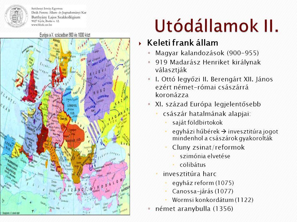  Keleti frank állam ◦ Magyar kalandozások (900-955) ◦ 919 Madarász Henriket királynak választják ◦ I.