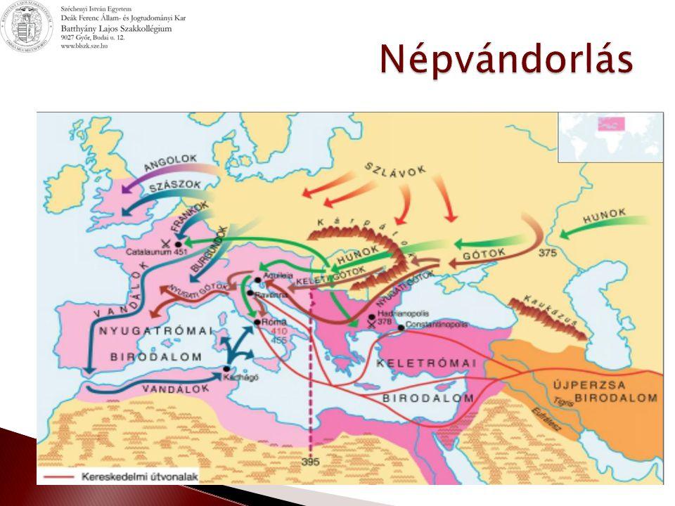  Keleti gót királyság ◦ 487 lerohanták Itáliát ◦ 490 Theodorik seregei beveszik Ravenna-t ◦ Római típusú kormányzás  Rómaiak a római jog szerint  Gótok a gót jog szerint ◦ 535-555 Iustinianus seregei elfoglalják Italiát  Langobard király ◦ 568 megjelentek Italia földjén ◦ 7.