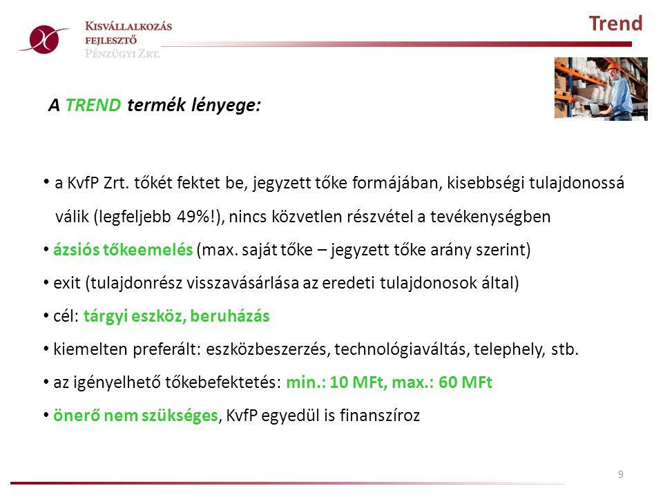 10 Trend Plusz A TREND PLUSZ termék lényege: a KvfP Zrt.