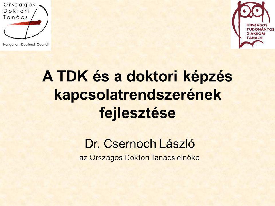 A TDK és a doktori képzés kapcsolatrendszerének fejlesztése Dr.