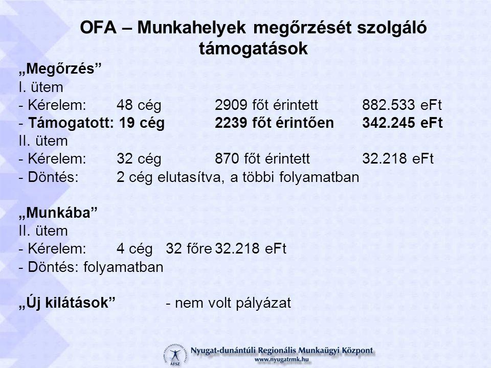 """OFA – Munkahelyek megőrzését szolgáló támogatások """"Megőrzés I."""