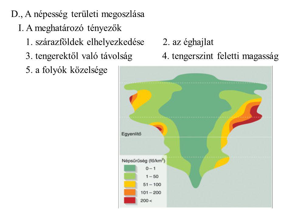D., A népesség területi megoszlása I. A meghatározó tényezők 1. szárazföldek elhelyezkedése 2. az éghajlat 3. tengerektől való távolság 4. tengerszint