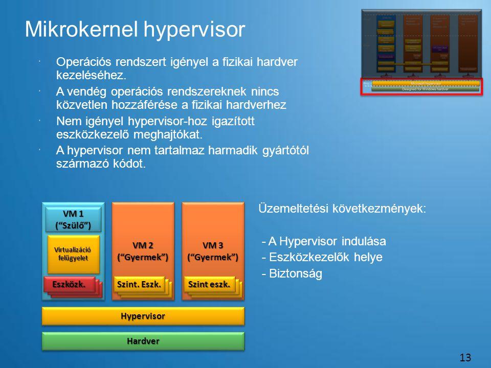 Mikrokernel hypervisor 13  Operációs rendszert igényel a fizikai hardver kezeléséhez.  A vendég operációs rendszereknek nincs közvetlen hozzáférése